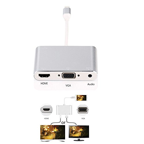 Tobo HDMI VGA AV Adapter Converter, Latest Version 4 in 1 Plug and Play Digtal AV Adapter for iPhone X / 8 / 8Plus/7/7Plus/6/6s/6s Plus/5/5s iPad iPod to Projector HDTV