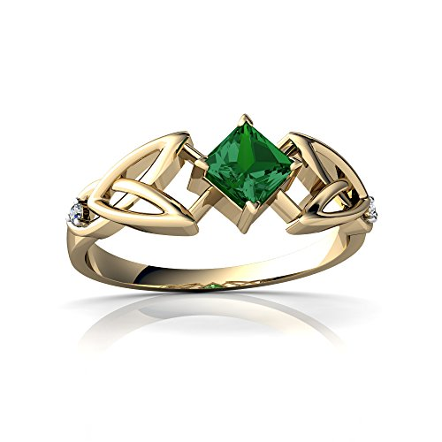 14kt Yellow Gold Lab Emerald and Diamond 4mm Square Celtic Trinity Knot Ring - Size 6.5