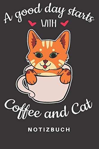 Notizbuch: Notizbuch | Notizheft | Schreibbuch 110 Seiten | Punkteraster | Punkte | DIN A5 | Katze | Katzen | Katzenhalter | Kitten | Hauskatze | Cat ... Cafe | Kaffeebohnen | Kaffeetasse | Espresso