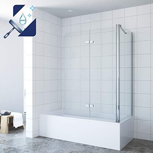 AQUABATOS Eck-Duschtrennwand Duschwand für Badewanne faltbar Badewannenaufsatz 120x140cm mit Seitenwand 70x140cm aus 5mm ESG Sicherheitsglas Nano-Beschichtung