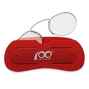 51e99ed93a06 Reading Glasses Nose Resting Pinching Ultralight Vision Mini Portable Men  and Women Anti-Blue Light Pince-Nez Eyeglasses Phone s Stand Glasses  Case(red ...