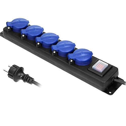 ORNO OR-AE-13159(GS)/5M Mehrfachsteckdose Außen Werkstatt Steckdose IP44 5-Fach mit 3m Kabel (3m)