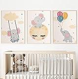 Láminas infantiles para decoración habitación bebé . Cuadros infantiles elefantes. Juego de 3 láminas para cuadros infantiles DIN A4. Poster de animales para decoración infantil