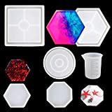 WeiMeet 5 Pieces DIY Coaster Silicone Molds Epoxy Casting Molds Silicone Resin Sphere Mold Including Round Square Hexagon and Octagon for Resin Concrete Cement Craft Making
