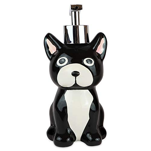 Isaac Jacobs Seifenspender mit verchromter Metallpumpe (hält bis zu 255 g) – ideal für Badezimmer, Küche, Bad, Bad Zubehör (Hund)