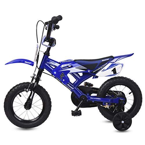 Bsopem Vélo pour Enfants 16 Pouces Design Moto vélo avec Garde-Boue et Double Frein V-Brake, Cadre en métal antidérapant, vélo à Quatre Roues Pratique pour Les Voyages et divertissements