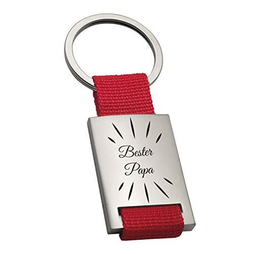 Metall Schlüsselanhänger- Bester Papa (rot, Strahlen ohne Name): Anhänger mit Gravur und Name personalisiert - Geschenkidee zum Vatertag, persönliche Geschenke selbst gestalten