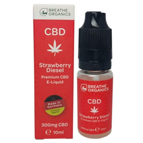 Premium CBD Liquid Strawberry Diesel von Breathe Organics®   E Liquid ohne Nikotin mit 300 mg CBD   100% natürliche Terpene   Cannabidiol Liquid   VGmax Basis