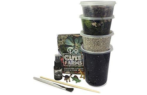 Cute Farms Terrarium Starter Kit | Moss, Vermiculite, Soil, Pebbles, Plant Food, & Finishing Tools (Large Kit)