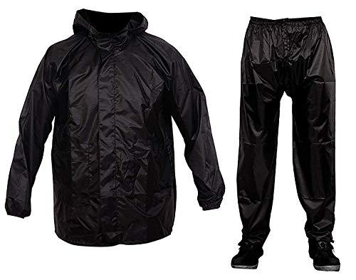 RiderShine Men's Rainwear Barsaati  Bike rain Jacket Semi Nylon Overcoat with Hoods and Side Pocket, Waterproof Portable Rain Suit  Black , Free Size (XXXL)