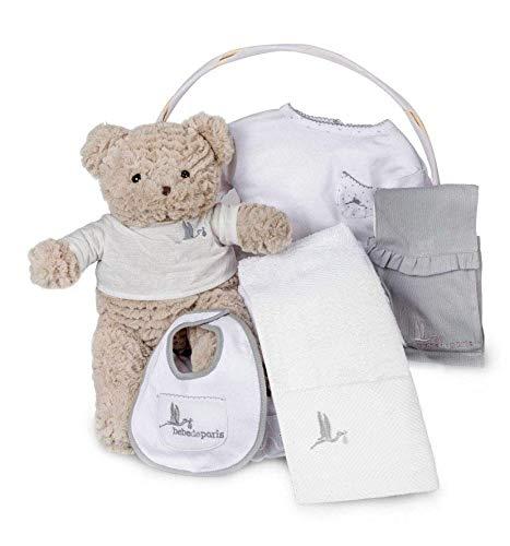 BebeDeParis | Cadeaux originaux pour les nouveau-nés | Panier spa essentiel | Idéal pour | 3-6 mois (Gris)