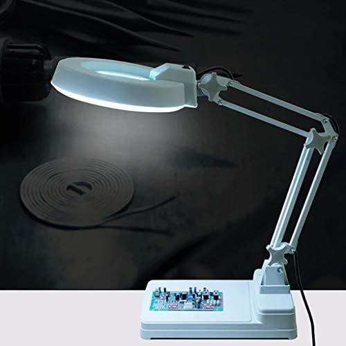 Pliable grande loupe lampe 2 en 1 lampe de bureau avec lumière ultra-lumineuse lumière du jour LED Grandes mains libre loupe de bureau pour la lecture loisirs artisanat Workbench
