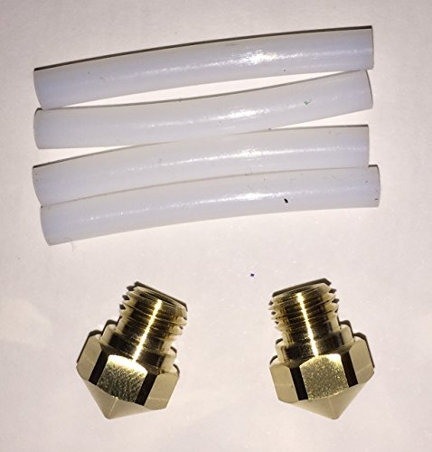 FlashForge FFH001 2 Nozzles and 4 Teflon Tubes kit for FlashForge Creator Pro and Dreamer (Pack of 6)