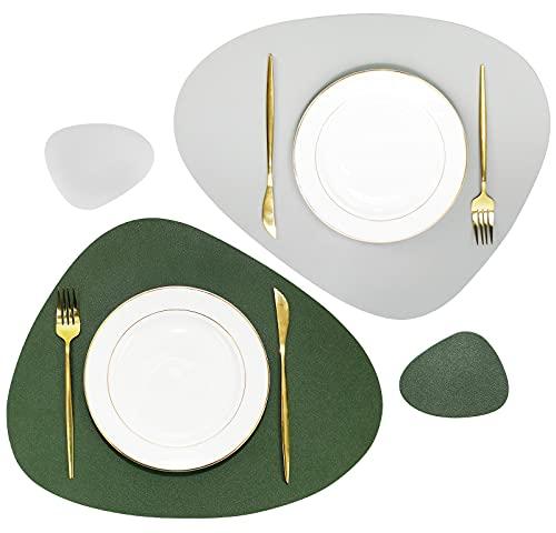 Olrla Ensemble de Table et sous-Verres Double Face en Cuir PU, 2 Tapis de Table et 2 sous-Verres pour Table à Manger de Restaurant à Domicile (Vert/Gris)