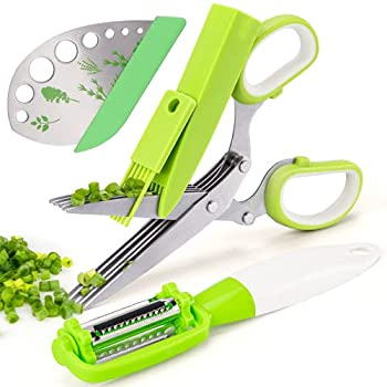 VIBIRIT Herb Scissors Leaf Herb Stripper Stainless Steel 5 Blade Kitchen Scissors,Peelers for Kitchen,for Chopping Chive  Vegetables Salad,Collard Greens Parsley Rosemary Herb