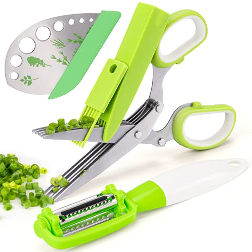 VIBIRIT Herb Scissors Leaf Stripper, Stainless Steel 5 Blade Kitchen Scissors,Peelers for Kitchen,for Chopping Chive , Vegetables, Salad,Collard Greens, Parsley, Rosemary Herb As Christmas gifts