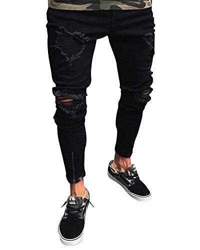 Herren Hose Jeans Jeanshosen Destroyed Stretch Freizeithose Mit Reißverschluss Am Knöchel Schwarz L