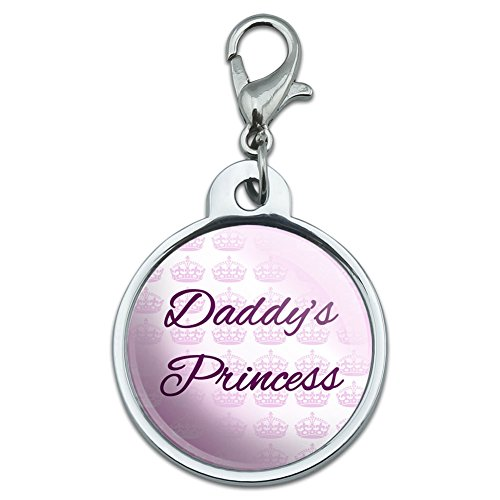 Graphics and More Chrome Plated Metal Small Pet ID Dog Cat Tag Sweetest Best - Daddy's Princess with Pink Crowns
