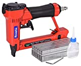 Dynastus Pneumatic Upholstery Staple Gun, 22 Gauge 3/8' Wide Crown Air Stapler Kit, by 1/4-Inch to 5/8-Inch, with 6000 Staples, Red