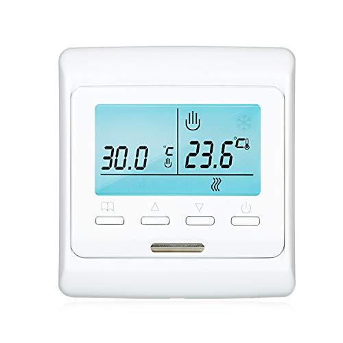 Termostato inteligente programable KKmoon Termostato digital Controlador de temperatura para calentamiento de agua Actuador de encendido/apagado Sensor integrado Pantalla LCD grande opcionales