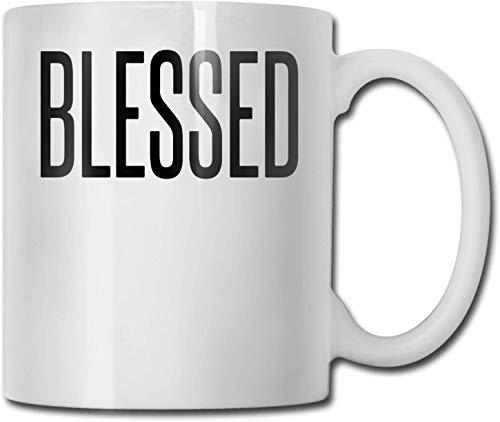 Taza de café blanca de cerámica única bendecida, taza de té para oficina, hogar, diversión, regalo novedoso, taza divertida de 11 oz para hombres y mujeres