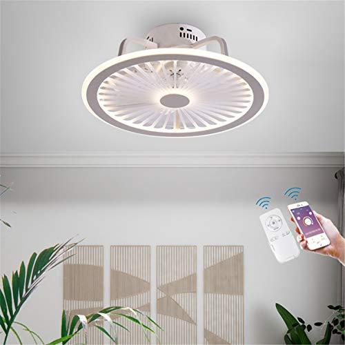 YAOXI - Ventilador de techo silencioso LED con iluminación regulable, 40 W, ventilador de techo con iluminación, color blanco