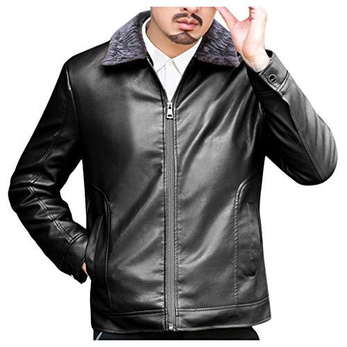 MAYOGO Herren Kunst-Lederjacke Zip Biker Jacke Motorradjacke Outdoor Jacke Männer Fluff Warm Gefüttert Übergangsjacke Business Outwear (Schwarz, XXXL)