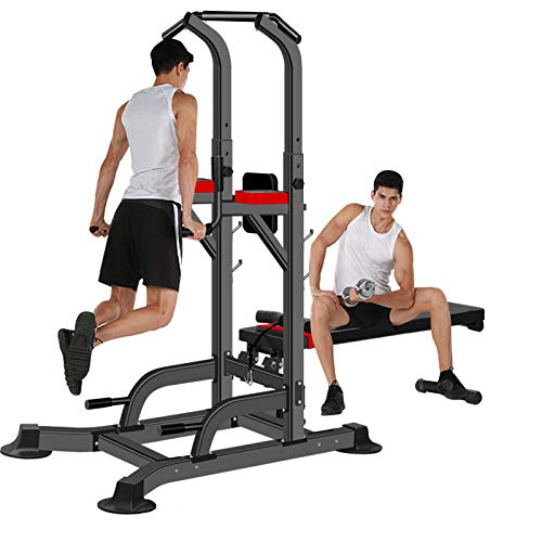 SMIDOW Adjustable Power Tower Dip Station Pull Up Bar With Dumbbell Bench/Sit up Bench, Weight Capacity 350lb - Ship from US
