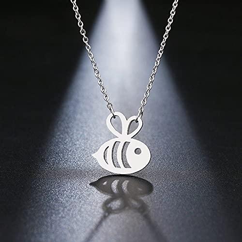 YQMR Colgante Collar para Mujer,Elegante Collar De Mujer Plata Hueco Grabado Abeja Animal Colgante Joyería Clásica Regalo para Mamá Cumpleaños Amistad Familia