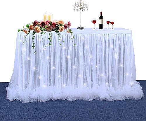 Toys Elegantstunning Falda de mesa con hilo de cinta con luz LED para decoración de bodas y fiestas, color blanco, 22 x 30 pulgadas JXNB