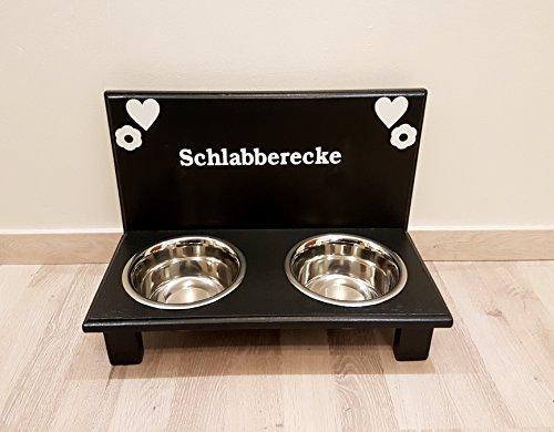 Hundefutterbar. Frei gestalten mit Wunschname und Deko. Hundenapf für kleine Hunde. Napf Hund. Futterbar Hunde in schwarz 2 x 750 ml Edelstahlnapf (N105)