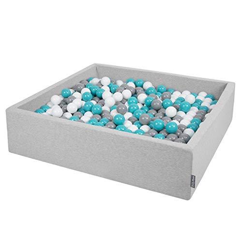 KiddyMoon Piscine À Balles 120X30cm/600 Balles Grande Carré pour Bébé, Fabriqué en UE, Gris Clair:Gris-Blanc-Turquoise