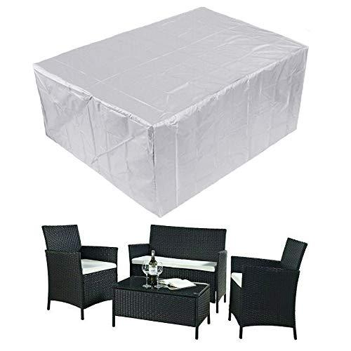 GUODIU Funda Muebles Exterior 250x200x80cm Oxford Fundas de Muebles Resitente al Polvo para Sofa de Jardin, al Aire Libre, Patio, Plata