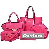 ZZMGDAM Nombre Personalizado Tote Sets Bolso DE Hombres para LA Bolsa DE Las Mujeres Bolso DE Cuero Hombro Set de Bolso 5pcs (Color : Pink, Size : One Size)