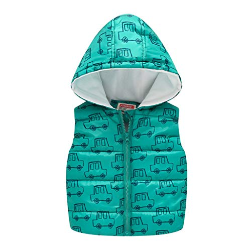 HEternal Baby Girls Boys Hoodies Coat Car Print Autumn Winter Warm Jackets Hooded Warm Waistcoat Tops Outerwear for 0 5 Years Old Kids 18 24 Months Green
