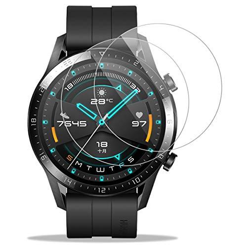Protector Pantalla para Huawei Watch GT 2 46MM Cristal Templado Protector [2-Pack] 9H Dureza Tempered Glass Screen Protector para Huawei Watch GT 2 44MM