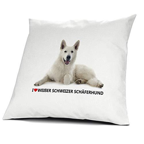 printplanet® Kopfkissen Weißer Schweizer Schäferhund, Kissen mit Füllung I Love Weißer Schweizer Schäferhund, 40 cm, 100% Baumwolle