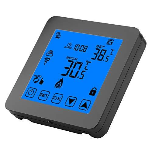 Wifi-thermostaat, programmeerbare verwarmingsthermostaat, digitaal LCD-scherm met achtergrondverlichting, draadloze temperatuurregelaar, zwart