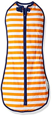 The Original Woombie Baby Swaddling Blanket I Soothing, Cotton Baby Swaddle I Wearable Baby Blanket, Orange Stripe, 14-19 lbs