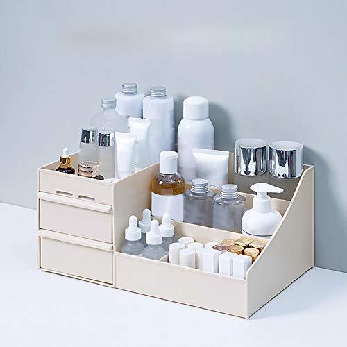 Grand Volume de Stockage de cosmétiques, décorations Bureau Vernis à Ongles boîte de tiroir de Maquillage,Khaki,25.2x15.4x11.5cm