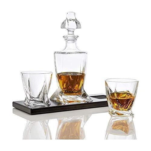 WEIJINGRIHUA Jarra de Whisky Whisky Vidrios Y Licor De La Jarra, Vidrio Tiene Una Plaza De Twisted Inferior, con 2 Cristal De Plomo Libre De Bourbon Vasos En La Bandeja De Madera