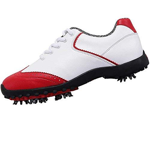HYJMJJ Golfschuhe Frauen Breathable Anti-Rutsch-Sportschuhe Damen Bequeme Ultratraining Golf-Turnschuhe,Rot,40