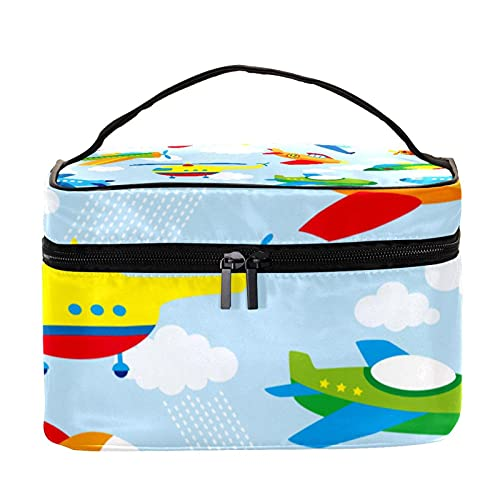 Bolsa de aseo colgante de viaje, organizador de cosméticos para mujeres, niñas, niños, avión colorido