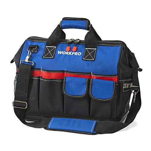 WORKPRO Tool Bag, Black/bule/red, 18-inch