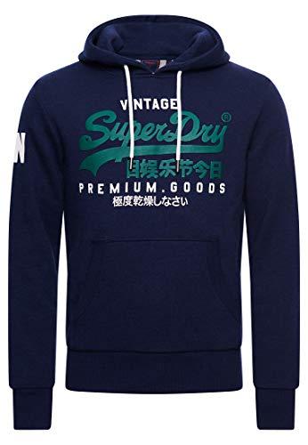 Superdry VL NS Hood Sweat à Capuche, Midnight Blue Grit, L Homme