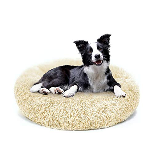 MMTX Plush Donut Pet Bed for Dog Marshmallow Cat Cushion Bed Puppy Sofa Round Warm Cuddler Sleeping Bag Nesting Cave Kennel Soft for Cats and Small Dogs Anti-Slip Bottom Machine Washable