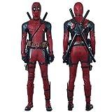 QWEASZER X-Men Deadpool Costume Wade Wilson Costume Supereroe Tute in Pelle Rossa e Nera Costume Cosplay Puntelli per Adulti per Film di Halloween,Deadpool-L