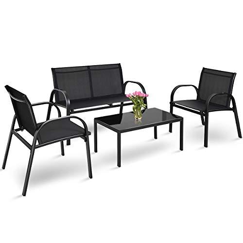 COSTWAY Juego de 4 Piezas de Muebles de Patio con 2 Sillones,1 Banco de 2 Plazas y 1 Mesa de Centro de Hierro y Tela de Malla para Terraza Jardín Exterior (Negro)