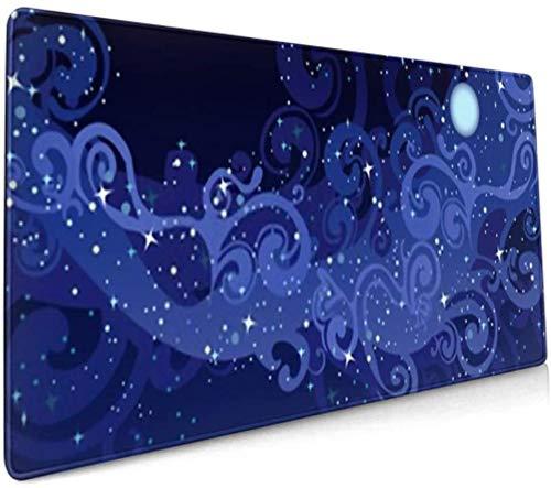 Langes Mauspad (35,5 x 15,8 Zoll) Vektor Nachthimmel Sterne Mond Milch Milchpad Pad Tastaturmatte, rutschfeste Basis, wasserdicht, für Arbeit & Spiele, Büro & Ho