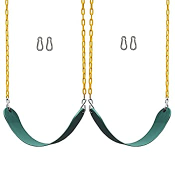 Jungle Gym Kingdom Swing Set Accessories - 2 Pack Heavy Duty Parts Chain & Seat - Playground Swings for Kids Backyard Outdoor Swingset  Green